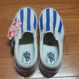 Vans White & Blue Striped Anaheim Factory Slip-On